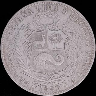 Перу. 1 соль 1889 г. Серебро