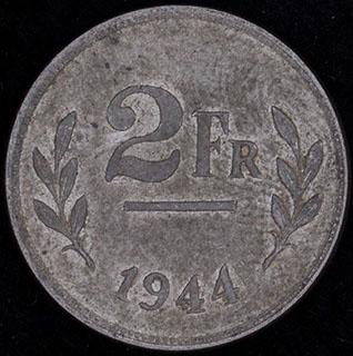 Бельгия. 2 франка 1944 г. Сталь с цинковым покрытием