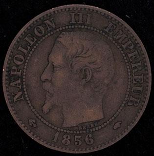 Франция. 2 сантима 1856 г. A. Медь