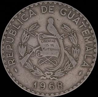 Гватемала. 25 сентаво 1968 г. Медно-никелевый сплав