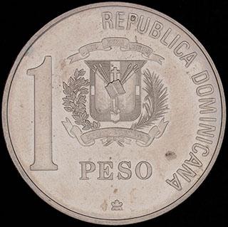 Доминикана. 1 песо 1988 г. «500 лет открытию и евангелизации Америки». Медно-никелевый сплав