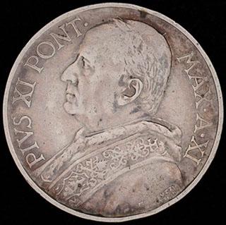 Ватикан. 5 лир 1932 г. Серебро