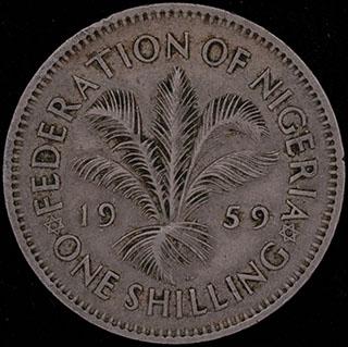 Нигерия. 1 шиллинг 1959 г. Медно-никелевый сплав