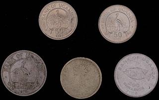 Уганда. Лот из монет 1974-2008 г. 5 шт.