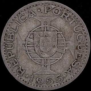 Мозамбик. 20 эскудо 1955 г. Серебро