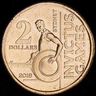 Австралия. 2 доллара 2018 г. «Игры непобежденных 2018». Алюминиевая бронза