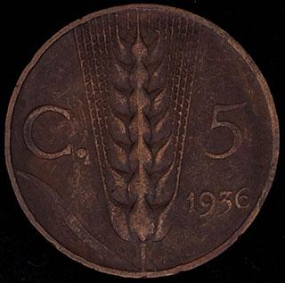 Италия. 5 чентезимо 1936 г. Медь