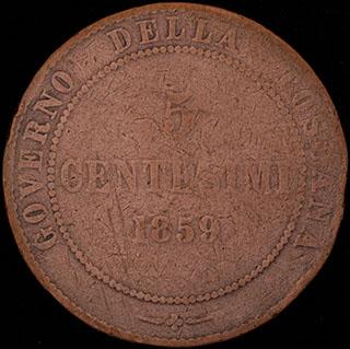 Тоскана. 5 чентезимо 1859 г. Медь