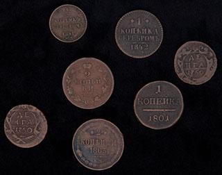 Лот из монет 1750-1863 гг. 7 шт.
