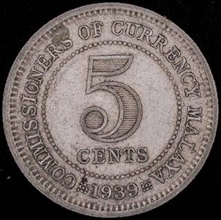 Малайя. 5 центов 1939 г. Серебро
