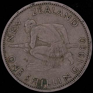 Новая Зеландия. 1 шиллинг 1960 г. Медно-никелевый сплав