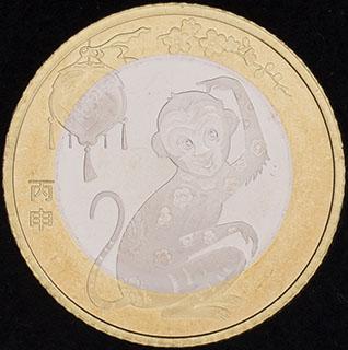 Китай. 10 юаней 2016 г. «Лунный календарь - год обезьяны». Медно-никелевый сплав, латунь