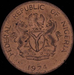 Нигерия. 1 кобо 1974 г. Медь