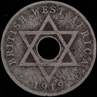 Британская Западная Африка. 1 пенни 1919 г. Н. Медно-никелевый сплав