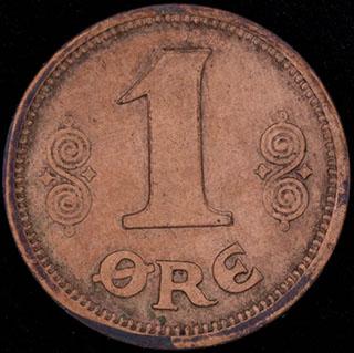 Дания. 1 эре 1913 г. Медь