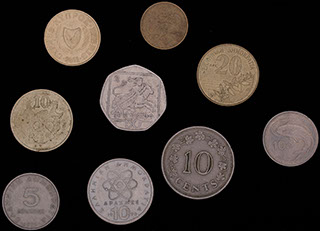 Лот из монет стран Средиземноморья 1972-2001 гг. 9 шт.