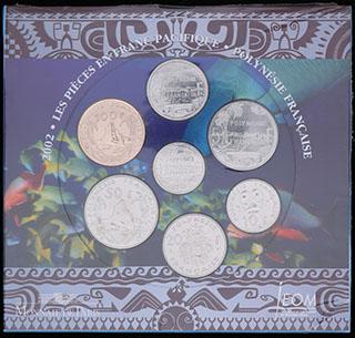 Французская Полинезия. Лот из монет 2002 г. 7 шт. В банковской упаковке