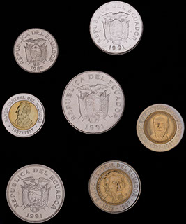Эквадор. Лот из монет 1988-1997 гг. 7 шт.