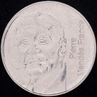 Франция. 5 франков 1992 г. «10 лет со дня смерти Пьера Мендеса-Франса». Никель
