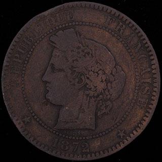 Франция. 10 сантимов 1872 г. Медь
