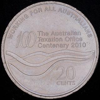 Австралия. 20 центов 2010 г. «100 лет налоговому Управлению». Медно-никелевый сплав