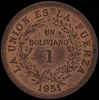 Боливия. 1 боливиано 1951 г. Медь