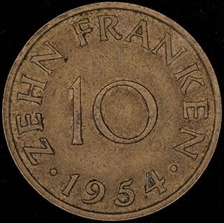 Саар. 10 франков 1954 г. Алюминиевая бронза