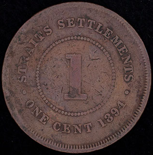 Стрейтс Сетлментс. 1 цент 1894 г. Медь