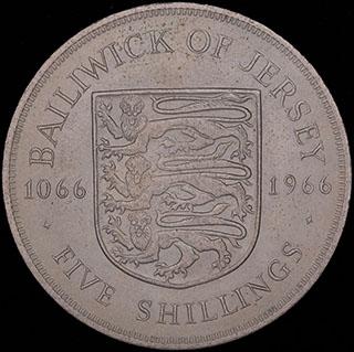 Джерси. 5 шиллингов 1966 г. «900 лет битве при Гастингсе». Медно-никелевый сплав