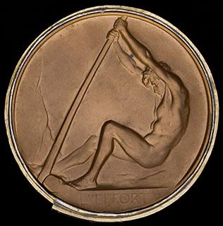 Бельгия. Премиальная правительственная ученическая медаль. Томпак. Диаметр 75,5 мм. В оригинальной коробке
