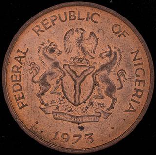 Нигерия. 1/2 кобо 1973 г. Медь