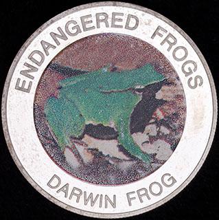 Малави. 10 квач 2010 г. «Вымирающие лягушки - Ринодерма Дарвина». Медно-никелевый сплав с серебряным покрытием