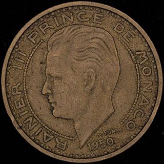Монако. 50 франков 1950 г. Алюминиевая бронза