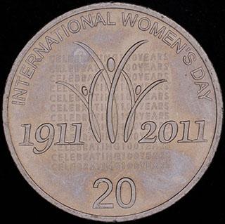 Австралия. 20 центов 2011 г. «100 лет Международному женскому дню». Медно-никелевый сплав