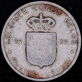 Руанда-Урунди. 1 франк 1959 г. Алюминий