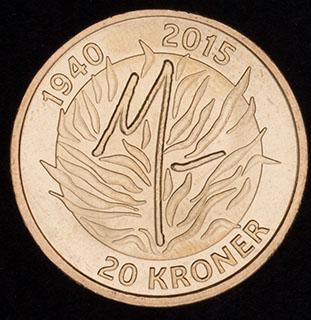 Дания. 20 крон 2015 г. «75 лет со дня рождения Королевы Маргрете II». Алюминиевая бронза