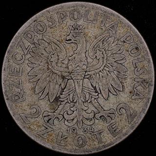 Польша. 2 злотых 1934 г. «Королева Ядвига». Серебро