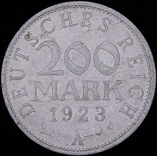 Германия. 200 марок 1923 г. Алюминий