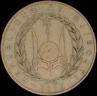 Джибути. 500 франков 2010 г. Медно-алюминиево-никелевый сплав