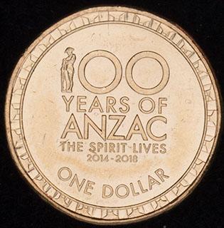 Австралия. 1 доллар 2018 г. «100 лет АНЗАК». Алюминиевая бронза