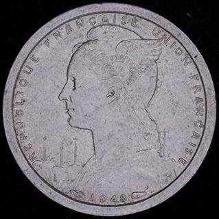 Французская Западная Африка. 1 франк 1948 г. Алюминий
