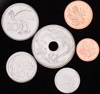 Папуа-Новая Гвинея. Лот из монет 2001-2006 гг. 6 шт.