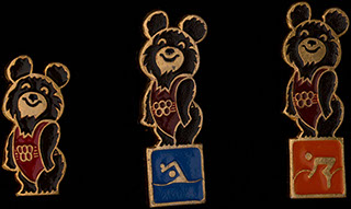 Лот из знаков на тему Олимпиады 1980 г. 3 шт.