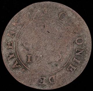 Французская Гвиана. 2 соу 1782 г. Серебро