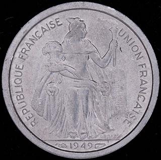 Французская Океания. 1 франк 1949 г. Алюминий