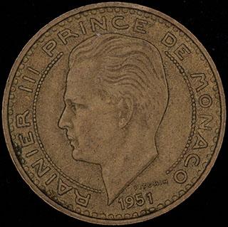 Монако. 20 франков 1951 г. Алюминиевая бронза