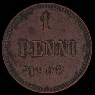 1 пенни 1908 г. Медь