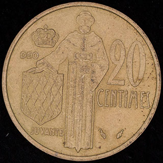 Монако. 20 сантимов 1975 г. Алюминиевая бронза