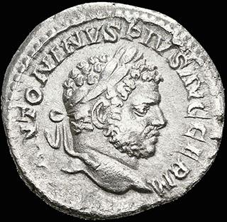 Римская империя. Каракалла Денарий 215 г. RIC 254. Серебро