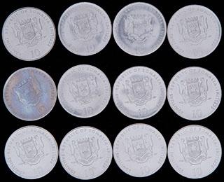 Сомали. Лот из 10 шиллингов 2000 г. 12 шт. «Китайский гороскоп»